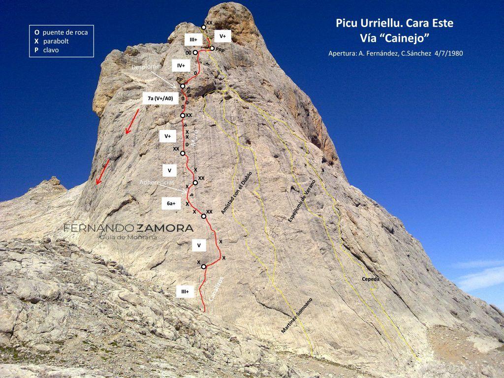 Croquis de escalada de la vía Cainejo en la cara este del naranjo de bulnes o picu urriellu