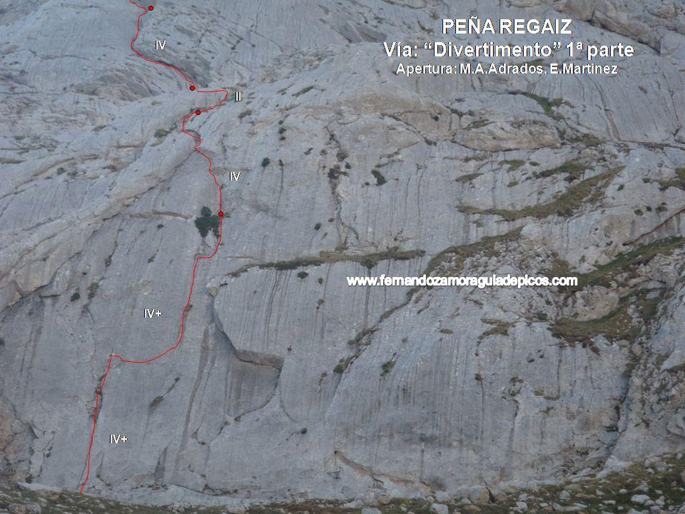Croquis de escalada vía divertimento en la peña regaliza