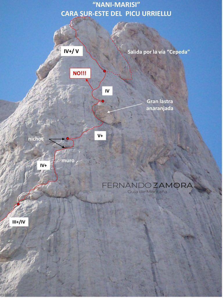 Croquis de escalada vía Nani. Naranjo de Bulnes