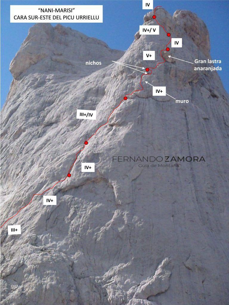 Cara Sur-Este del Naranjo de Bulnes. Croquis y descripción de la escalada de la vía Nani en el Picu Urriellu. Una selección de reseñas de Picos de Europa.