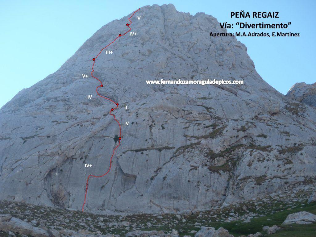 Croquis y descripción actualizada de la vía de escalada Divertimento en la Peña Regaliz. Picos de Europa. Selección de escaladas en la Vega de Liordes