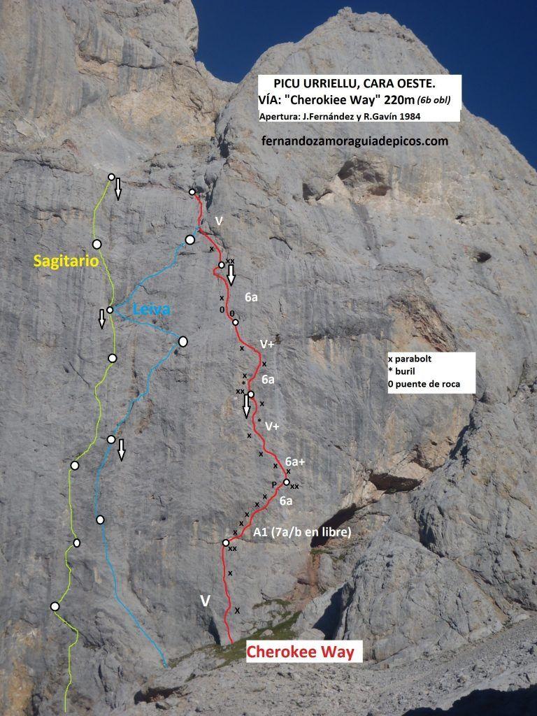 Croquis de escalada de la vía Cherokee Way en la cara oeste del naranjo de bulnes o picu urriellu