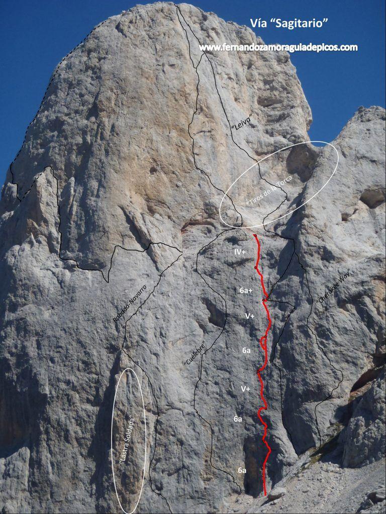 Croquis y descripción de la vía Sagitario en el Naranjo de Bulnes (Picu Urriellu). Una selección de reseñas de escaladas de los Picos de Europa.