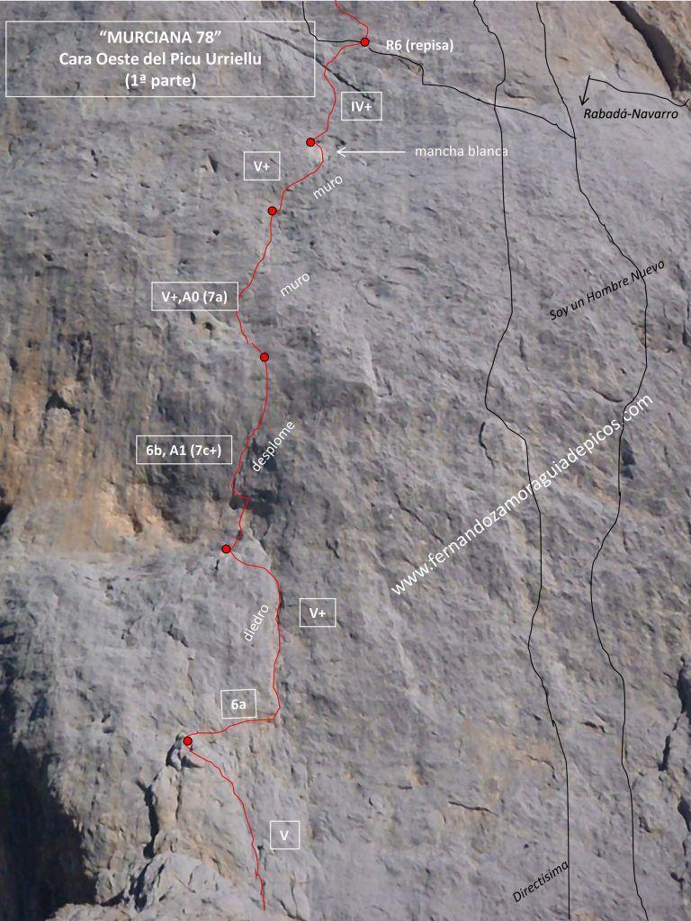 Croquis de escalada de la primera parte de la murciana. Naranjo de Bulnes