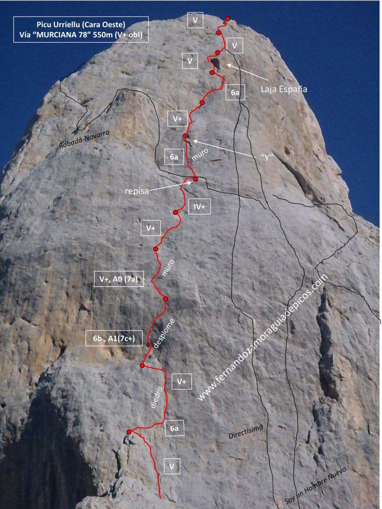 Información y croquis de la vía Murciana en la cara oeste del Naranjo de Bulnes (Picu Urriell). Recopilación online de reseñas de los Picos de Europa.