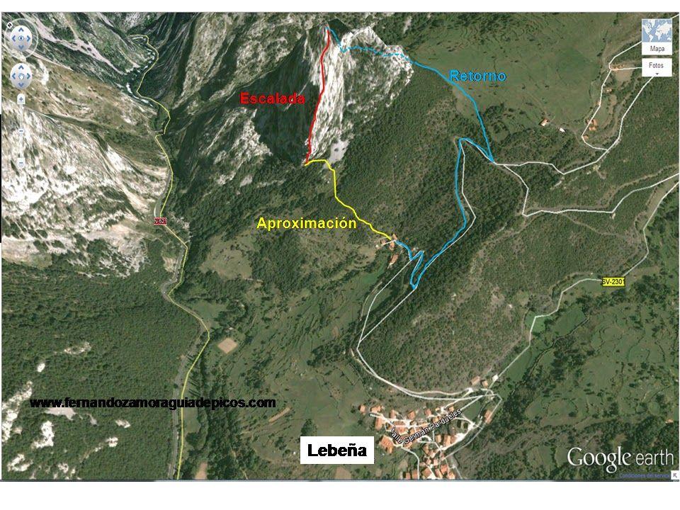 Situación de la vía de escalada al cueto valle