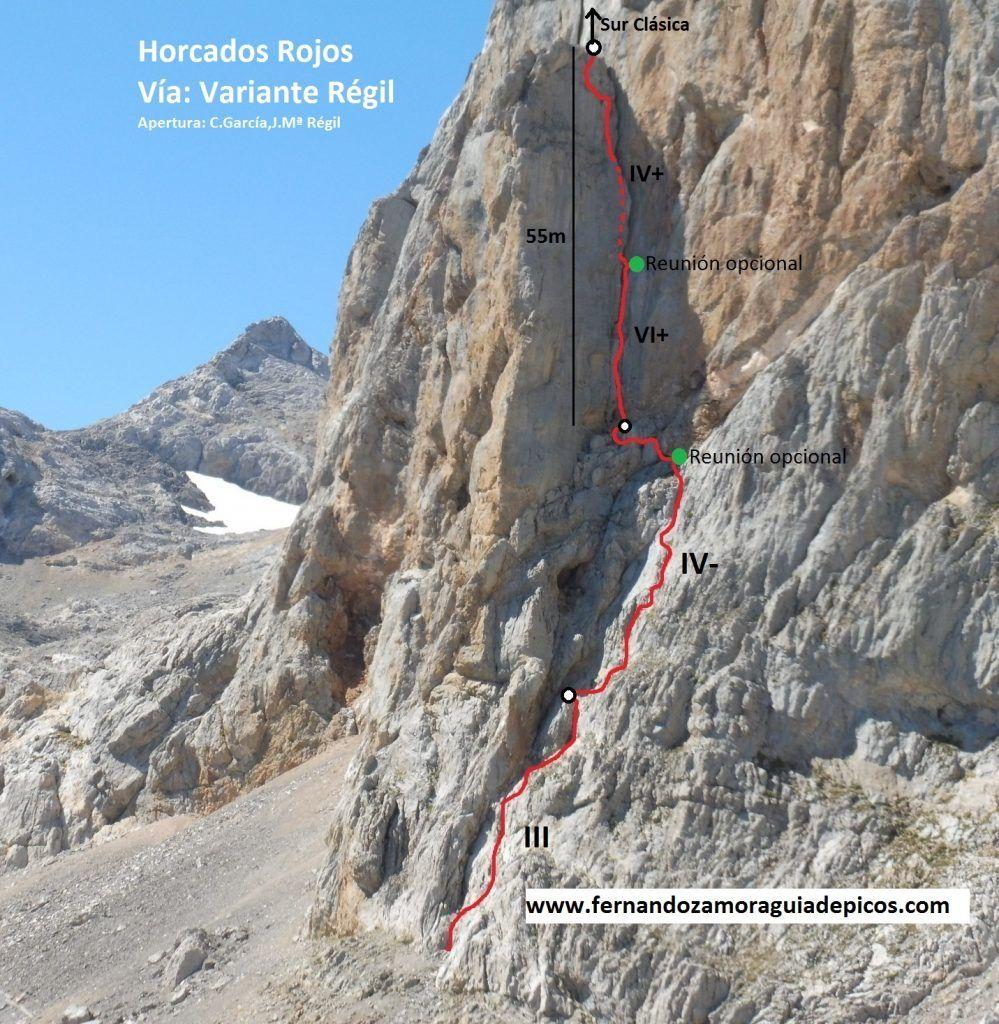 Croquis de escalada vía Régil en Horcados Rojos