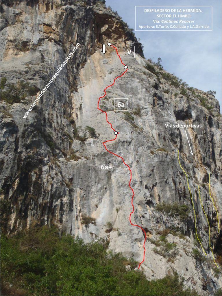 Croquis de escalada vía Contínuo Renacer en el desfiladero de La Hermida