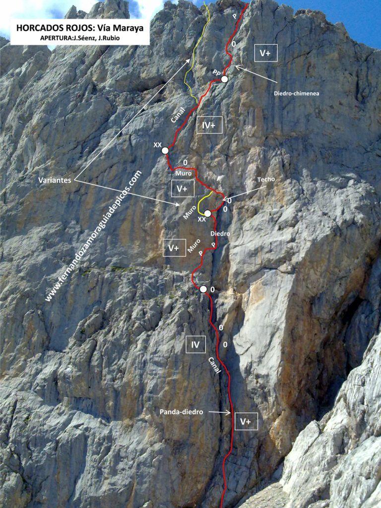 Croquis de escalada de la vía Maraya en Horcados Rojos