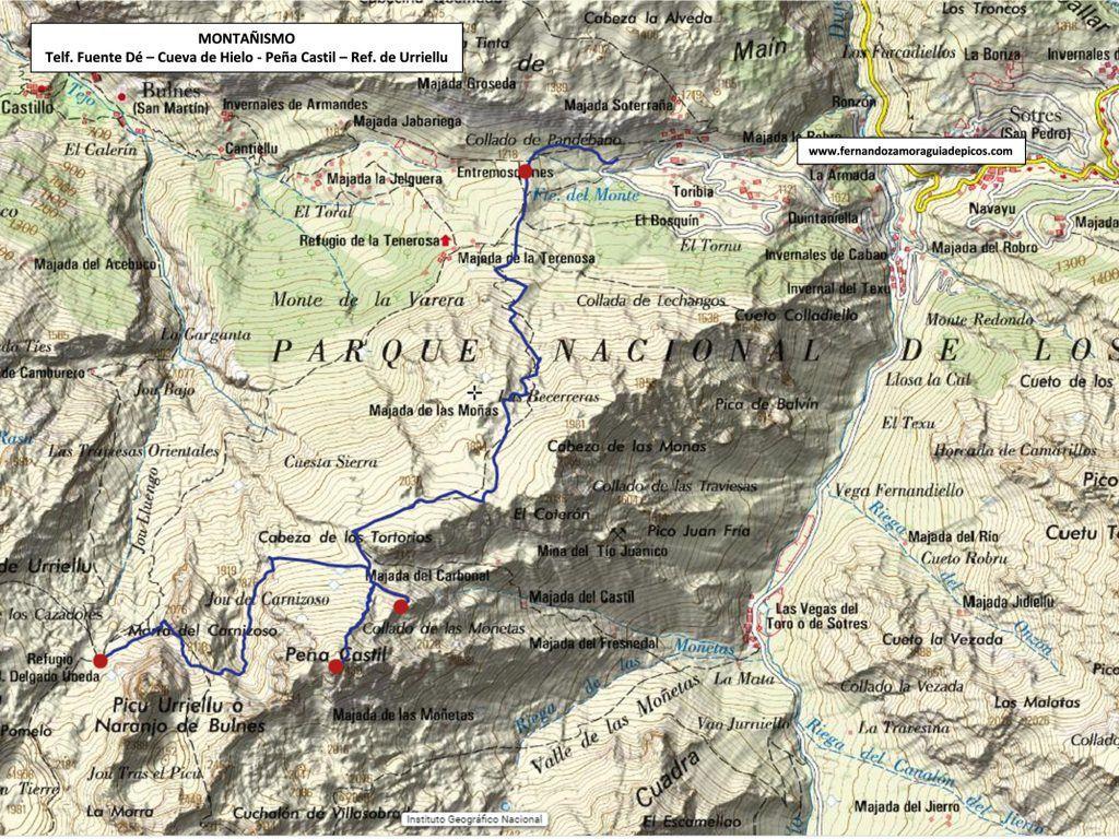 Mapa para llegar a la cueva de hielo de peña castil