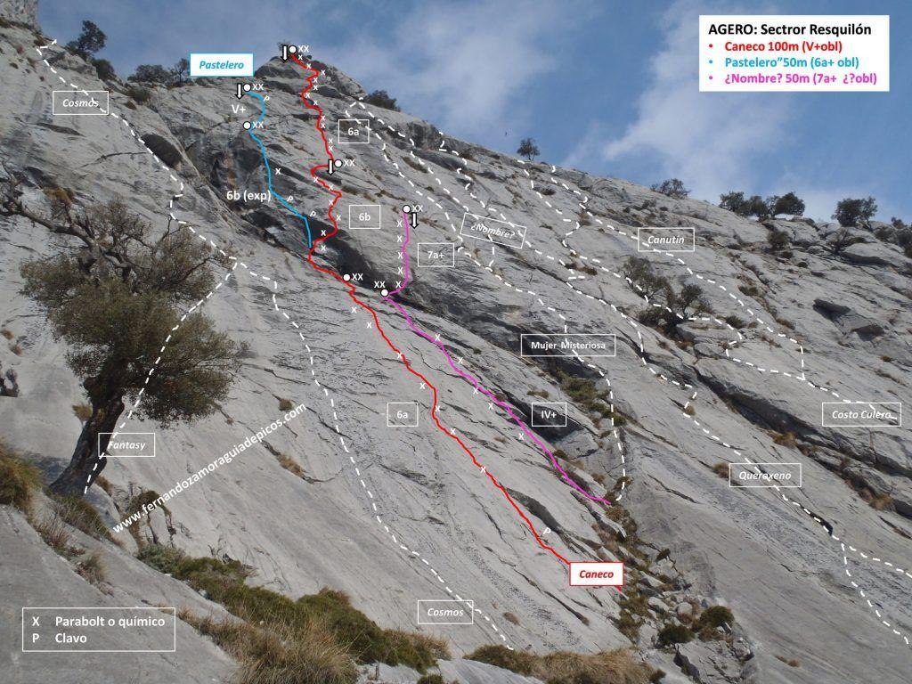 Croquis de escalada de la vía Caneco en el Esquilón del Agero