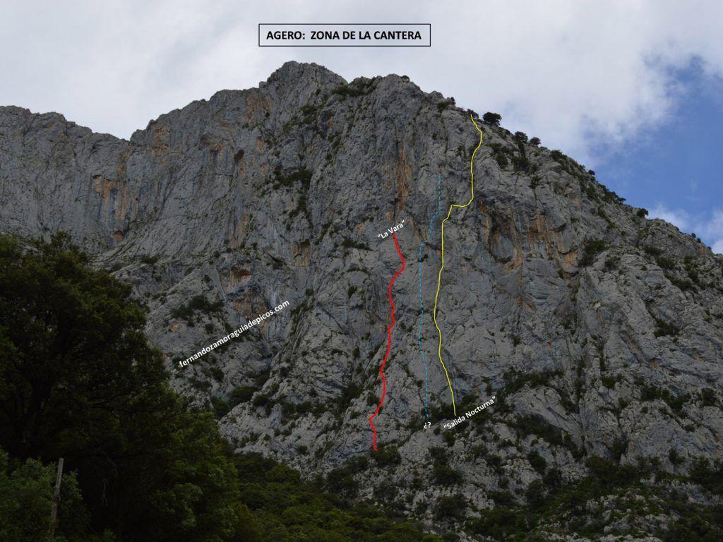 Ubicación de la vía de Escalada La Vara en el Agero