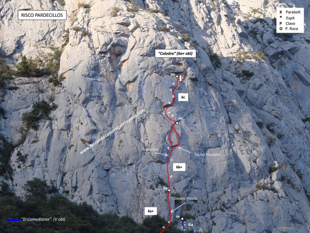 Croquis de escalada vía colodra en pardecillos, Agero