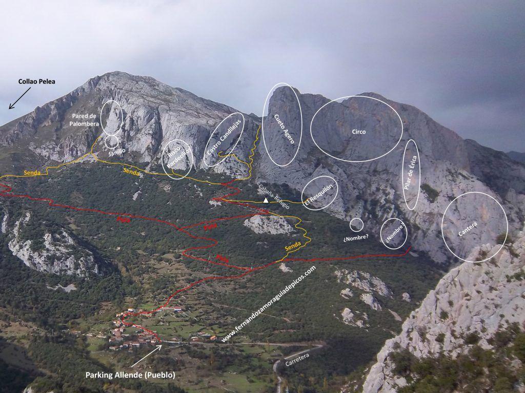 Croquis de escalada del Agero