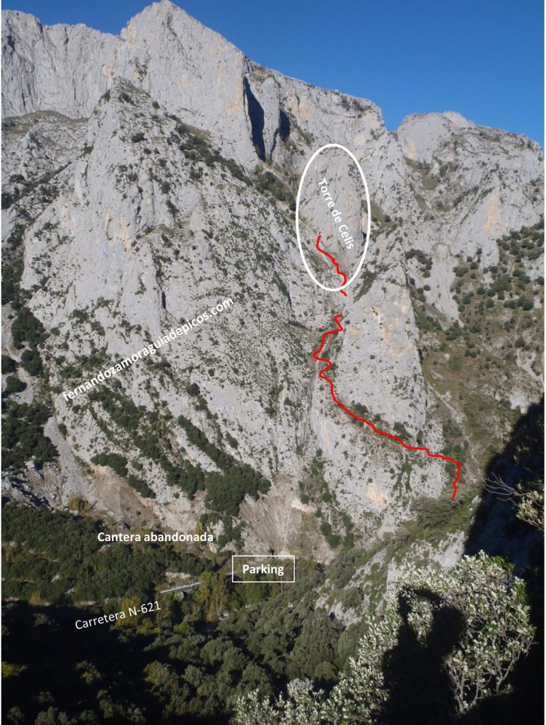 Croquis escalada dependencia Bendita torre de Celis Agero