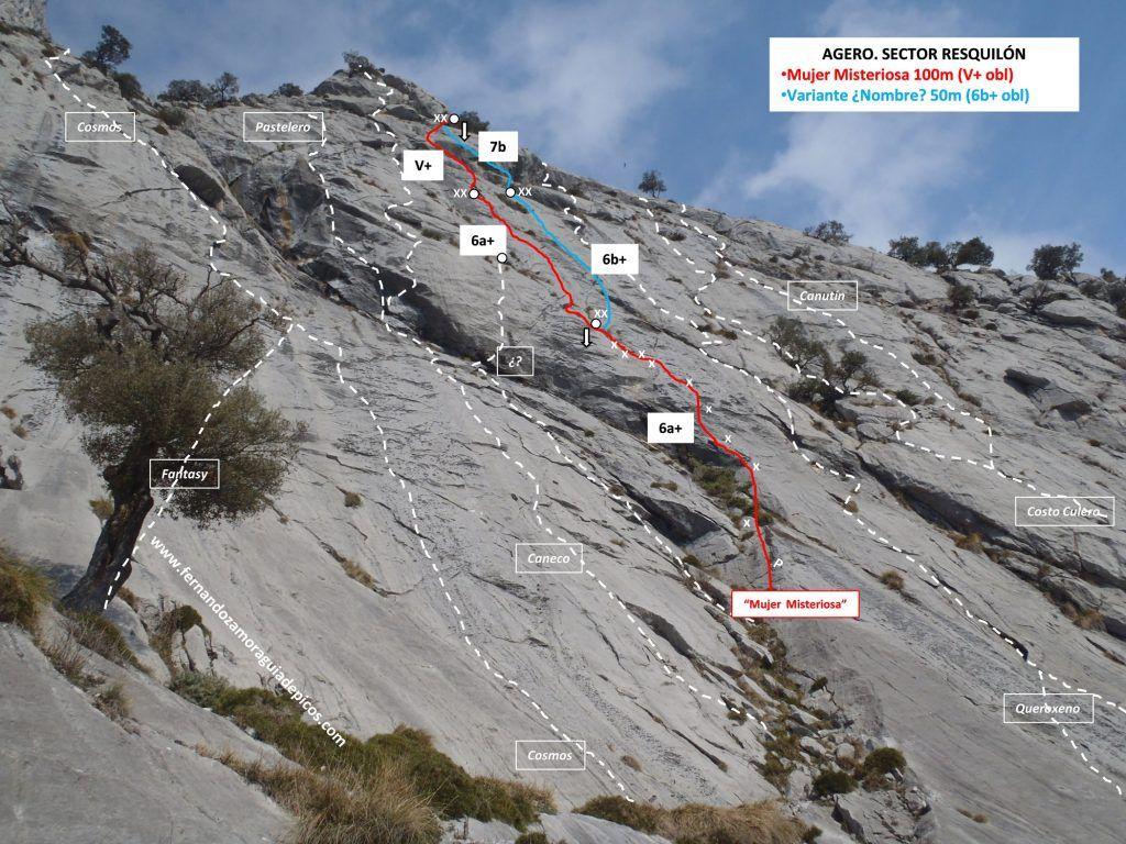 Croquis de escalada vía Mujer Misteriosa en el Resquilón. Agero